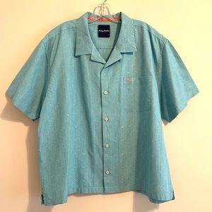 Tommy Bahama Teal Blue Silk Blend  Button Up